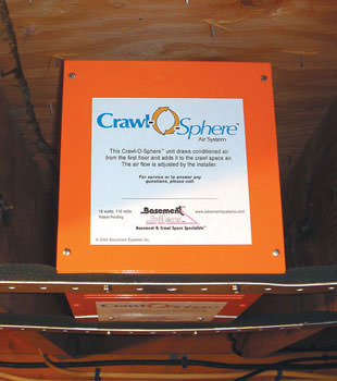 A ventilation fan installed for a crawl space in Jacksonville