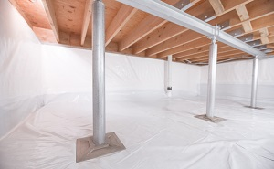 Crawl space structural support jacks installed in Benton