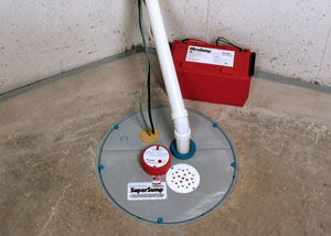 A sump pump system with a battery backup system installed in Wrightsville