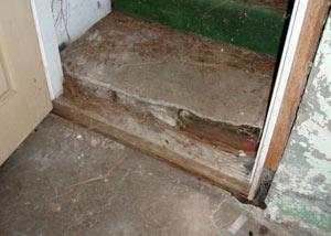 A flooded basement in Adona where water entered through the hatchway door