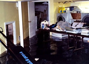 A laundry room flood in Roland, with several feet of water flooded in.