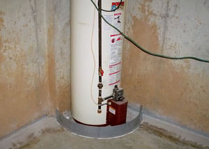 A water heater in Scott that's been protected by the FloodRing® and a perimeter drain system.