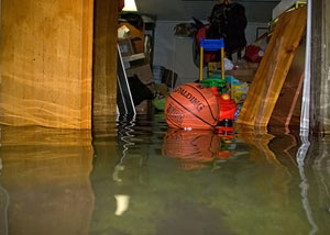 A flooded basement bedroom in North Little Rock