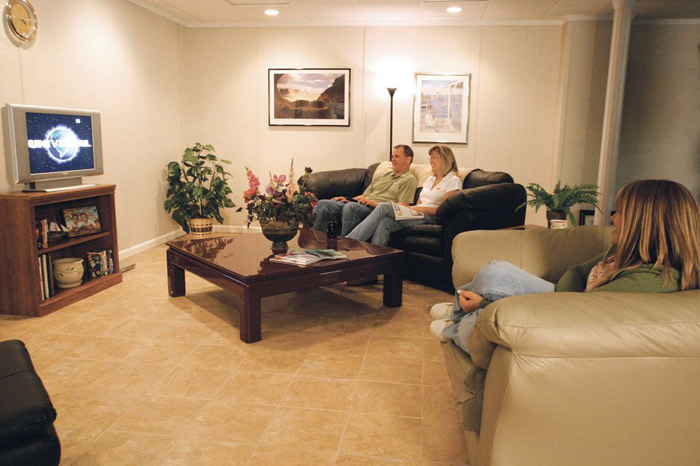 A Basement Finished Into Comfortable Family Room