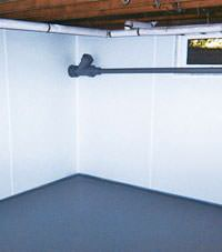 Plastic basement wall panels installed in a Hensley, Arkansas home