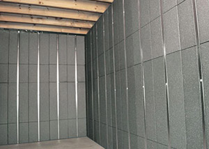 SilverGlo™ insulation and metal studs making up our Basement to Beautiful panels.  Installed in Alexander.
